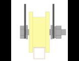 Ролик для ворот капролоновый d 70mm под пр.трубу 20Х20 на пластинах. Артикул Р2705