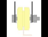 Ролик для ворот капролоновый d 70mm под полосу на пластинах. Артикул Р2702