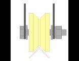 Ролик для ворот капролоновый d 70mm под угол на пластинах. Артикул Р2711