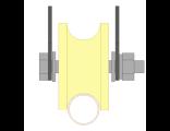 Ролик для ворот капролоновый d 70mm под трубу  на пластинах d 3/4. Артикул 2708