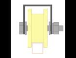 Ролик для ворот капролоновый d 70mm под пр.трубу 20Х20 на платформе. Артикул Р2706