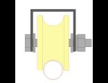 Ролик для ворот капролоновый d 70mm под трубу на платформе d 3/4. Артикул Р2709