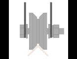 Ролик для ворот металлический d 65mm под угол на пластинах . Артикул Р3615