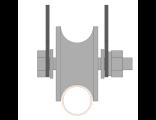 Ролик для ворот металлический d 65mm под трубу d 3/4 на пластинах . Артикул Р3611