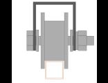 Ролик металлический d 65mm под пр.трубу на  20х20 на платформе. Артикул Р3606
