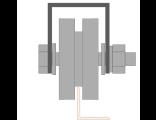 Ролик для ворот металлический d 65mm под полосу на платформе . Артикул Р3603