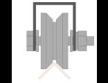Ролик для ворот металлический d 65mm под угол на плпатформе . Артикул Р3616