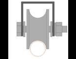 Ролик для ворот металлический d 65mm под трубу d 3/4 на платформе 65. Артикул Р3612